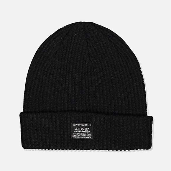 Cotton On Accessories - Cotton On Men's Women's Basic Ribbed Black Beanie